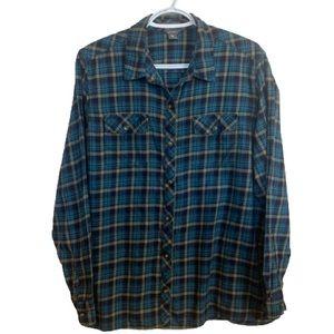 Eddie Bauer Blue & Green Cotton Plaid Button Up